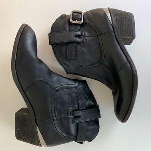 Lucky Brand Jordon Black Leather Buckle Booties 9